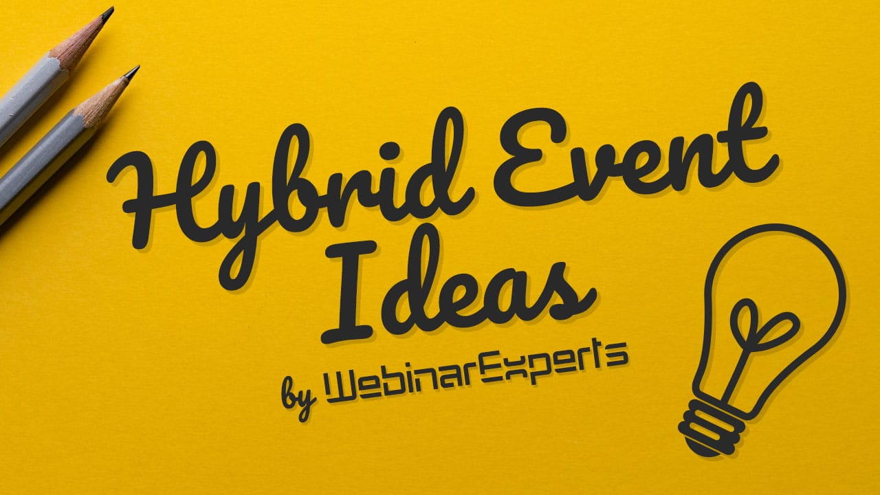 hybrid event ideas written on post it note with lightbulb